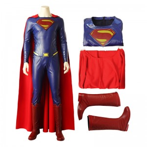 Justice League Superman Clark Kent Cosplay Costume Top Level