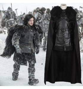 Game of Thrones Jon Snow Manteaux Costume Homme Cosplay de Film Noir Haut Jupe Manteau Halloween Carnaval faux cuir Polyester