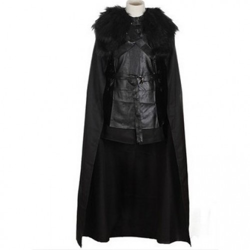 of Game Carnaval Costume Film Haut Thrones Jon Manteau Homme de Halloween Polyester faux cuir Cosplay Noir Jupe Snow Manteau RqjL534A