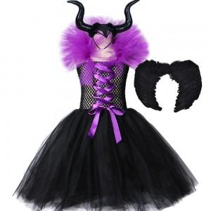 Déguisement Maléfique Reine Robe Enfants Cosplay Costume Halloween Carnaval Mascarade Filles Film de Cosplay Noir / Rouge / Violet